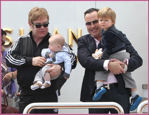 51113941 Singer Elton John and his partner David Furnish arrived in Venice, Italy with their two sons, Zachary and Elijah on May 29, 2013. FameFlynet, Inc - Beverly Hills, CA, USA - +1 (818) 307-4813 RESTRICTIONS APPLY: USA/AUSTRALIA ONLY